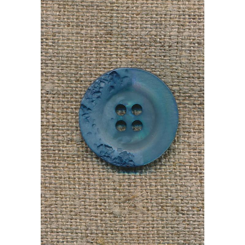 4-huls knap krakeleret støvet blå/denim, 20 mm.