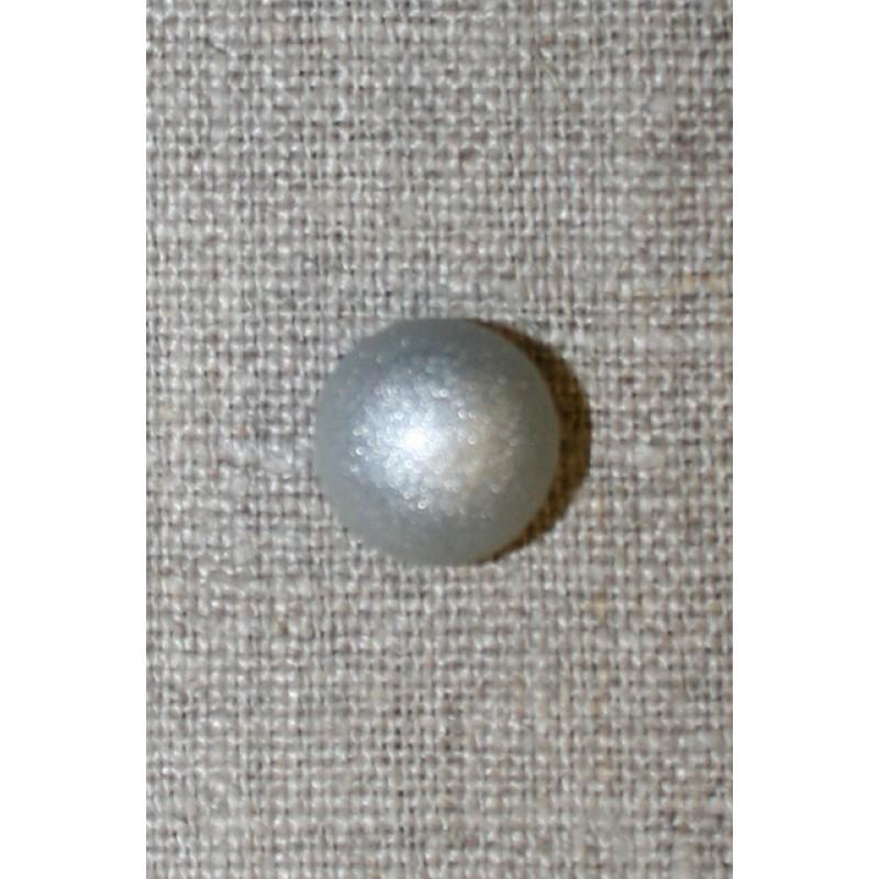 Rund grå knap m/sølv-glimmer, 13 mm.