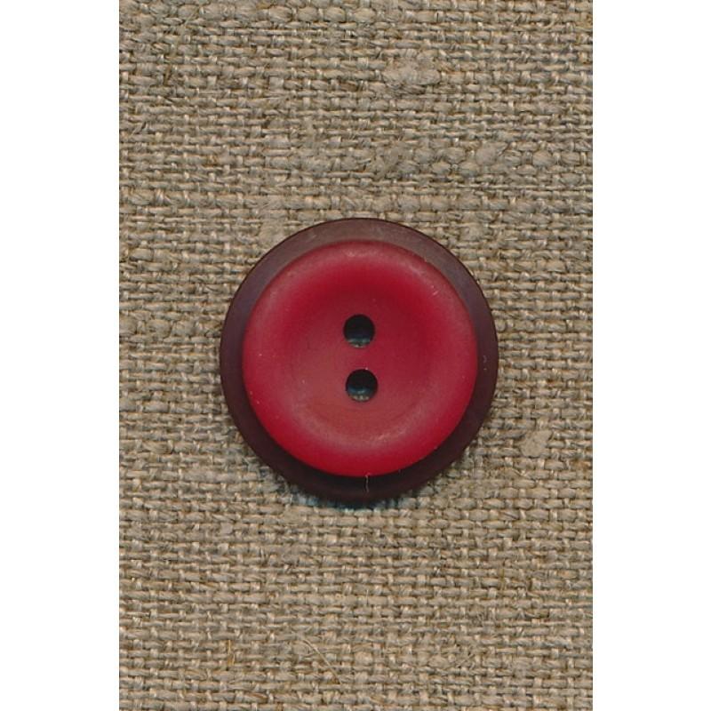 Rød 2-huls knap m/mørk rød kant, 20 mm.-31