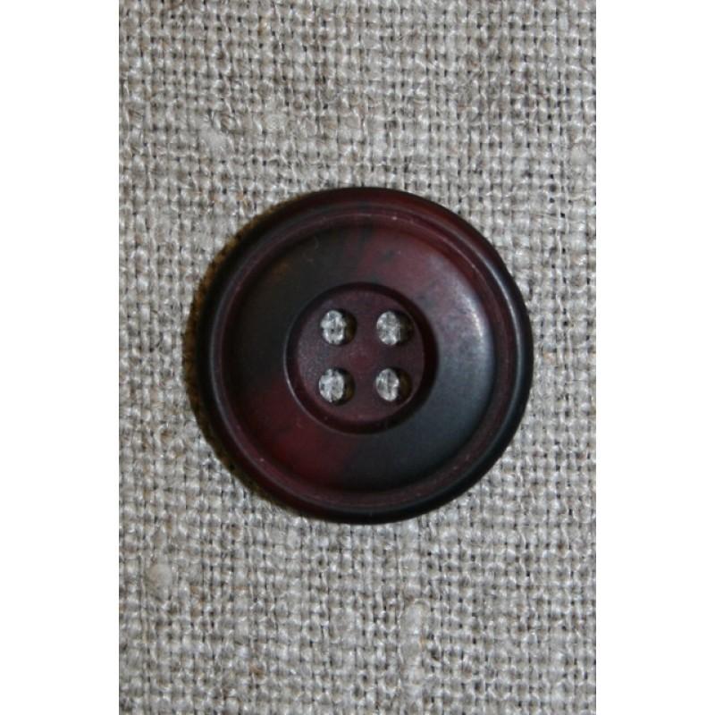 Bordeaux-meleret 4-huls knap, 20 mm.