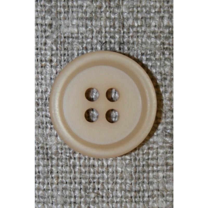 4-huls knap m/kant beige, 15 mm.
