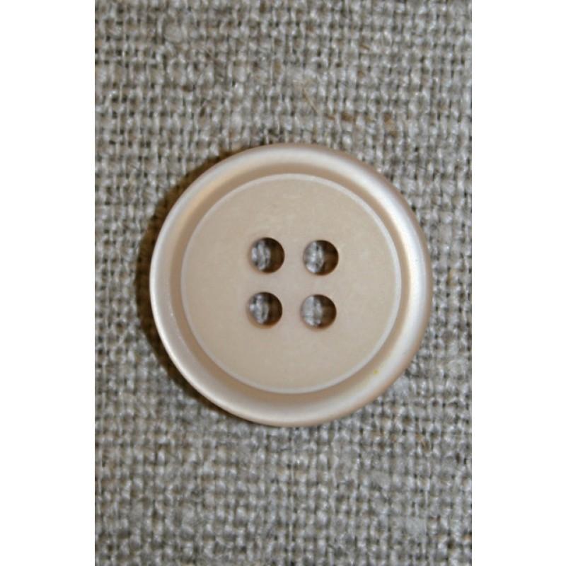 4-huls knap m/kant beige, 18 mm.