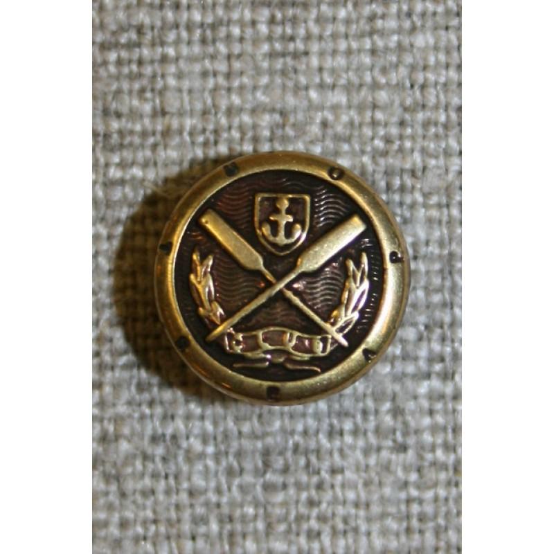 Gl.guld knap m/åre/anker, 12 mm.