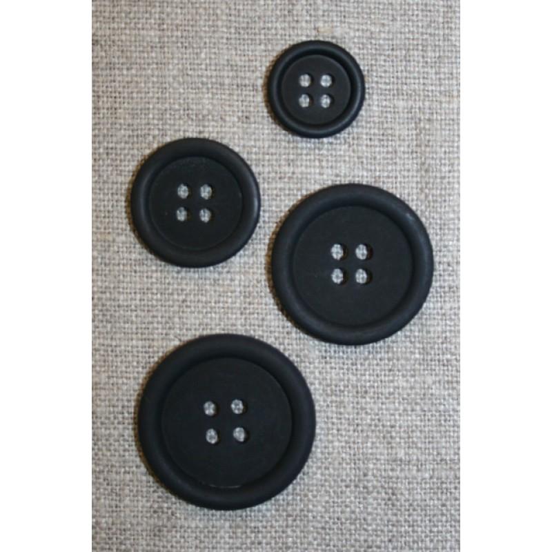 4-huls knap sort, 25 mm.-33