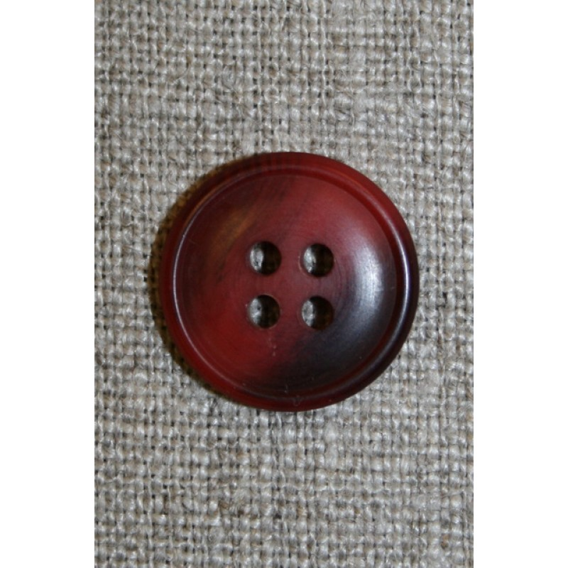 4-huls knap meleret mørk rød/bordeaux 18 mm.