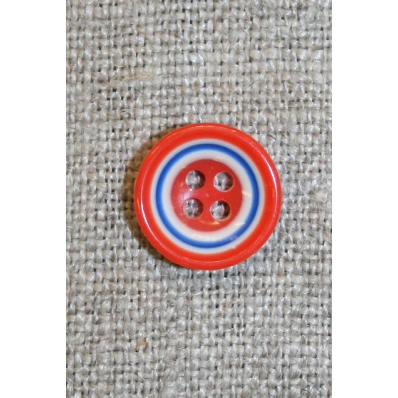 Flerfarvet knap m/cirkler, orange/blå/hvid 13 mm.-33