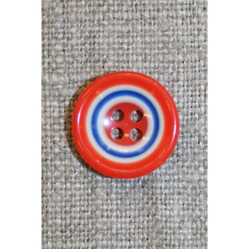 Flerfarvet knap m/cirkler, orange/blå/hvid 15 mm.-33