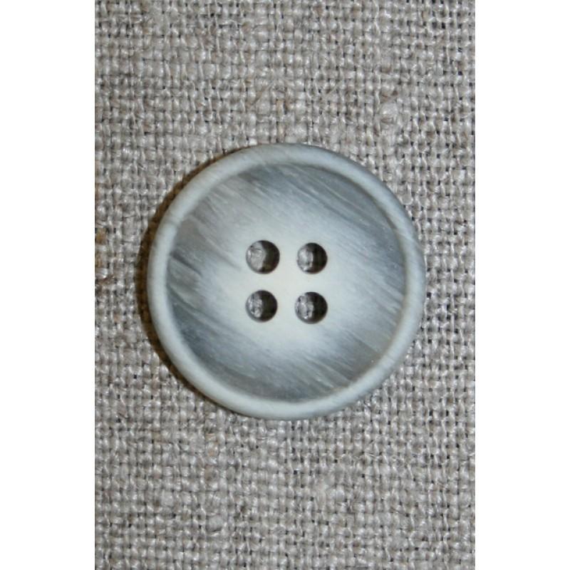 4-huls knap meleret off-white/grå, 20 mm.-33