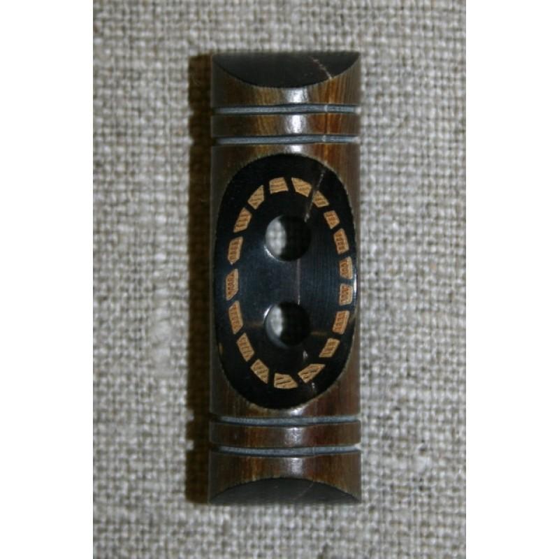 Aflang træknap/knebel 40 mm. mørk m/mønster-31