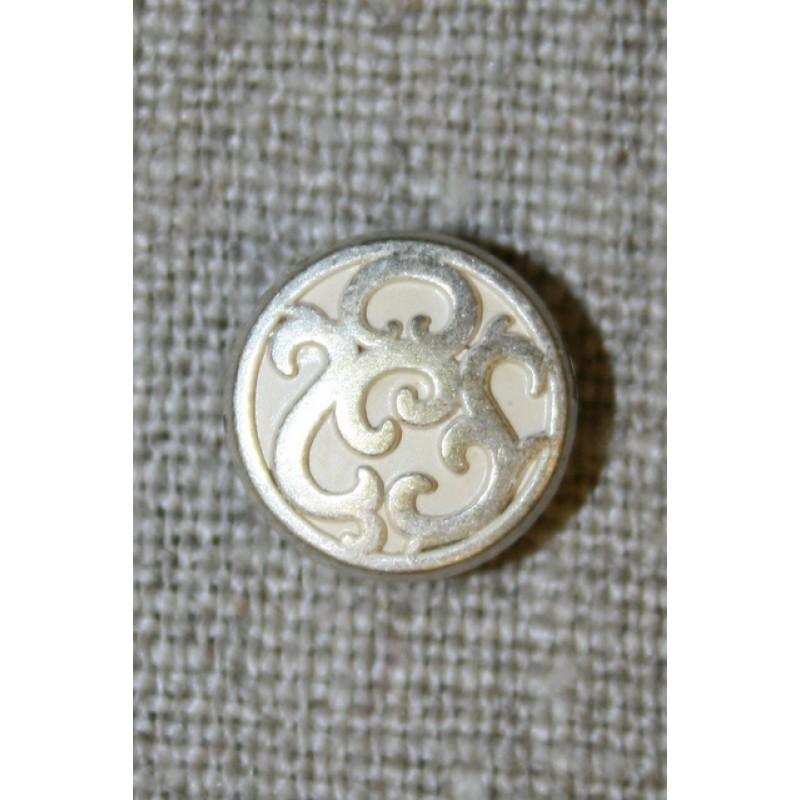 Lille metalknap m/mønster hvid/sølv, 12 mm.