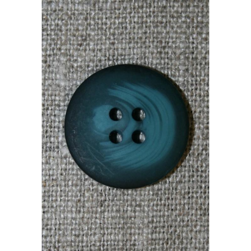 4-huls knap meleret mørk petrol/petrol-blå, 20 mm.