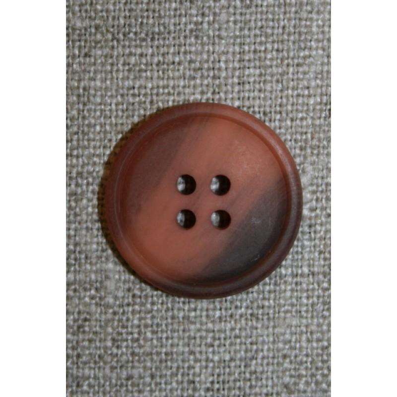 4-huls knap pudder-laks/grå-brun meleret, 23 mm.