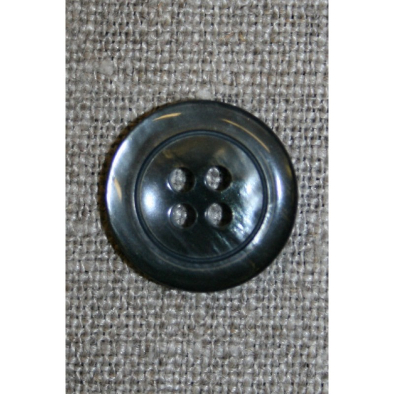 Blank koksgrå 4-huls knap, 18 mm.-35