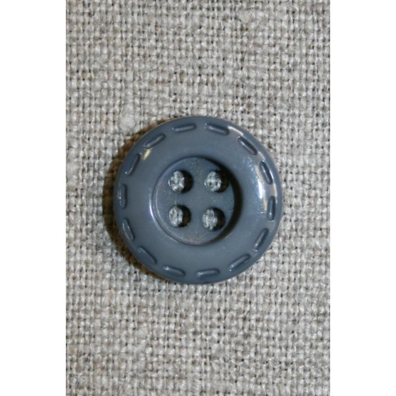 Grå knap m/stikning, 18 mm.-35