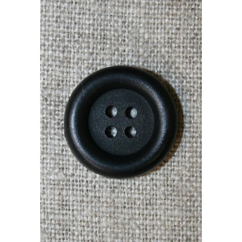 4-huls knap m/kant, sort 20 mm.-35