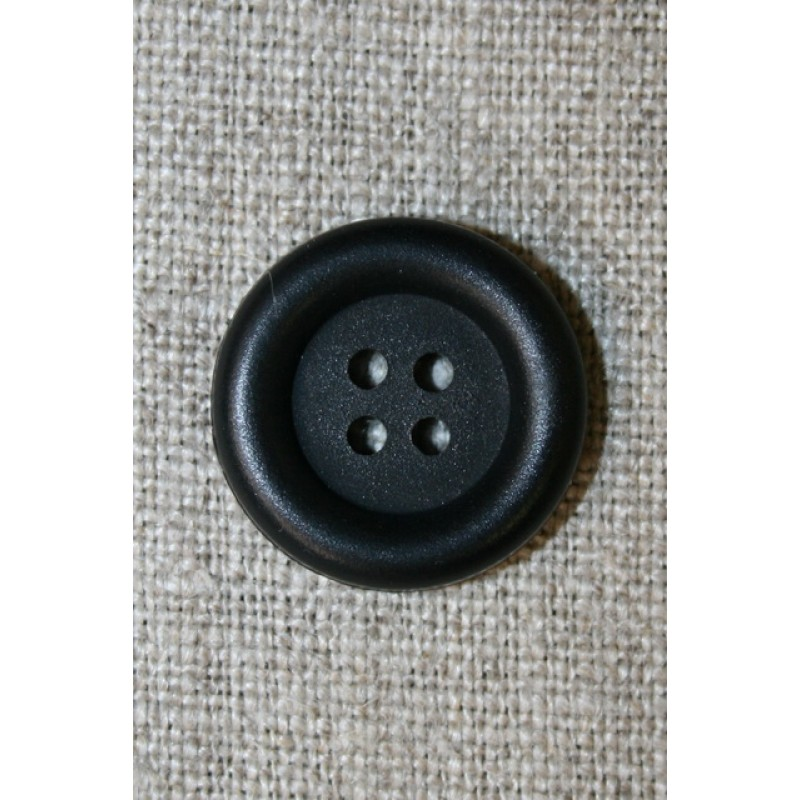 4-huls knap m/kant, sort 20 mm.
