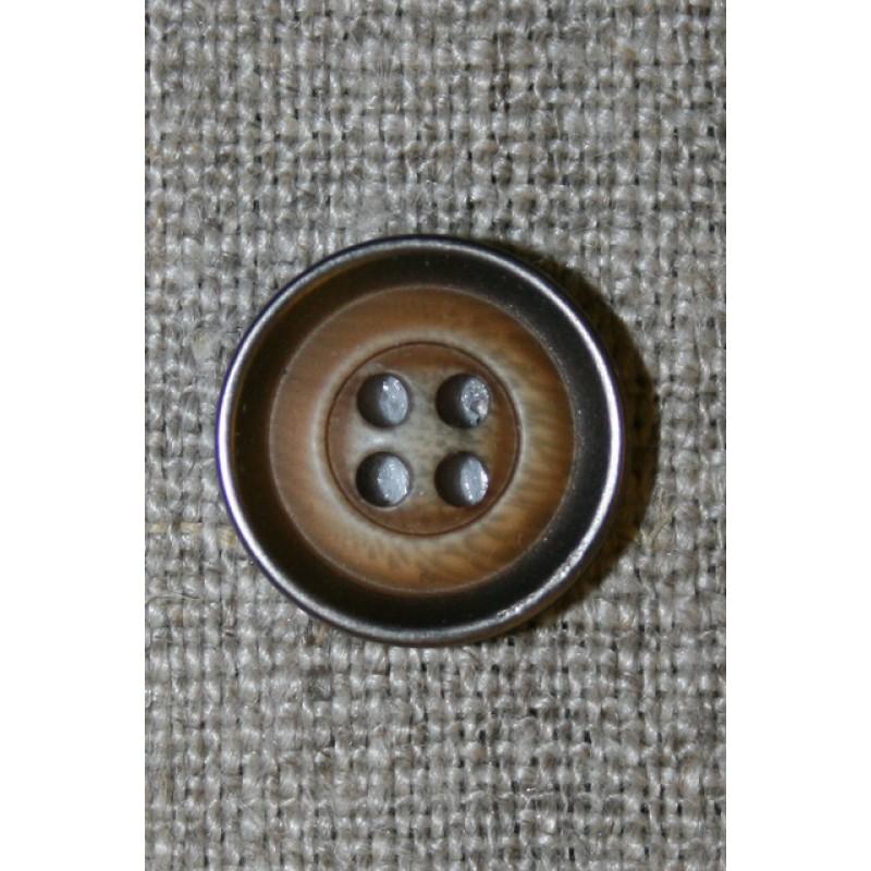 4-huls knap træ/gl.sølv-look, lys 15 mm.-35