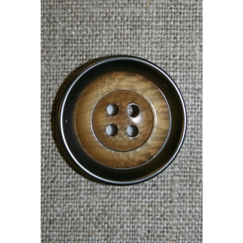 4-huls knap i plast med lys træ og gl.sølv-look 28 mm.-33