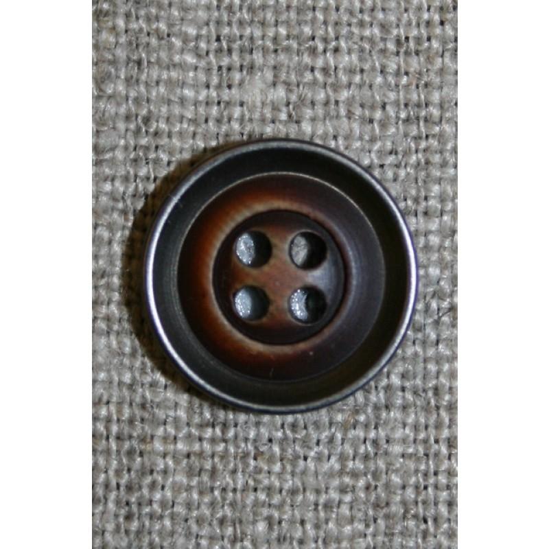 4-huls knap træ/gl.sølv-look, mørk 15 mm.