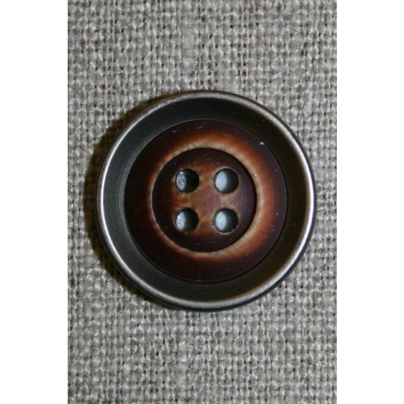 4-huls knap træ/gl.sølv-look, mørk 28 mm.