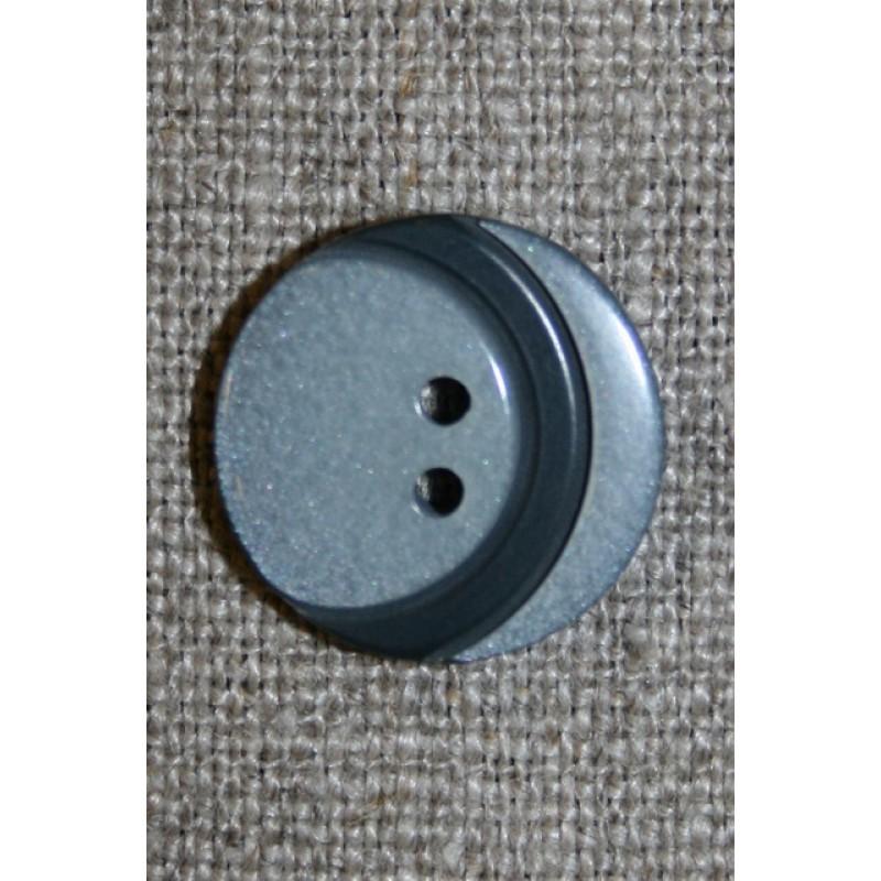 2-huls knap m/bue, lysegrå/mørkegrå 18 mm.-31