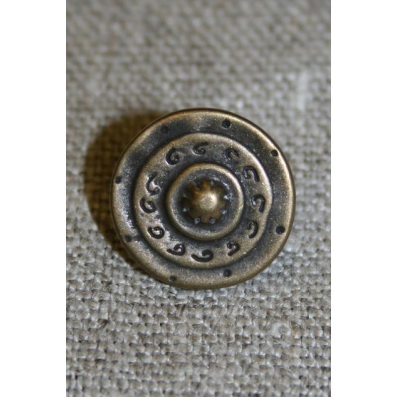 Metal-knap i skjold-look gl.guld, 15 mm.-31