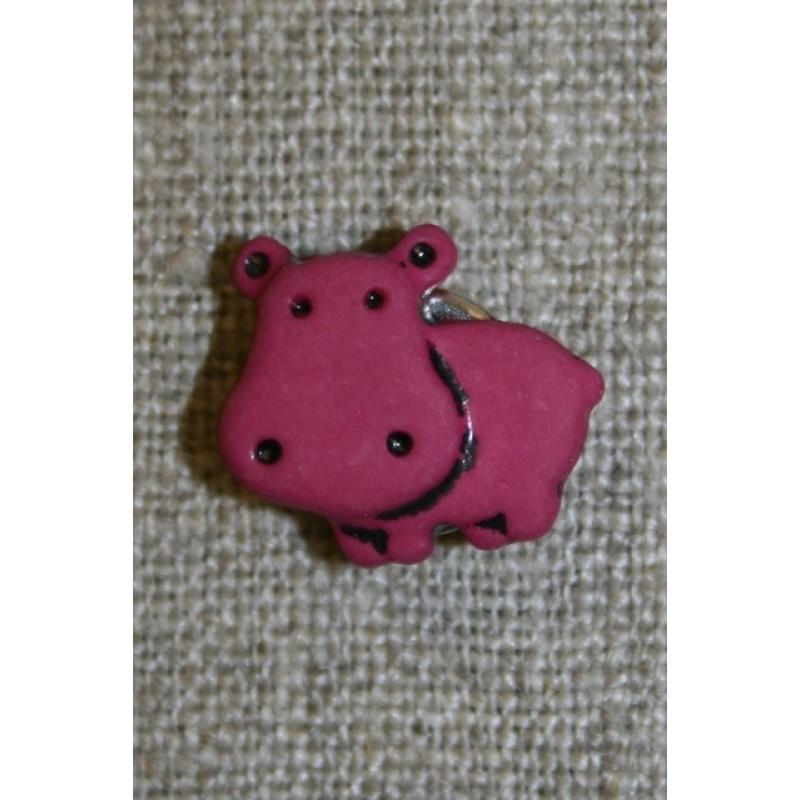 Knap m/flodhest, mørk pink-31