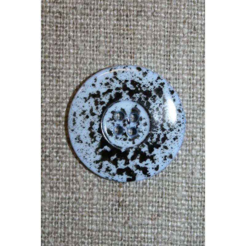 Knap m/pletter lyseblå/sort 23 mm.-35