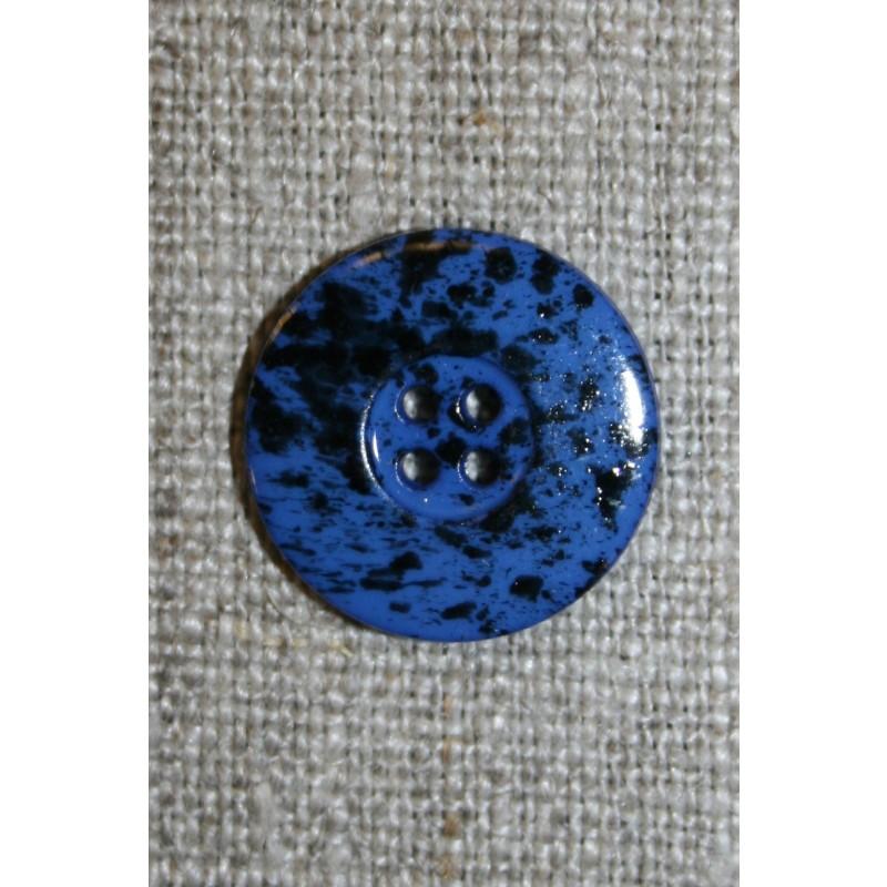 Knap m/pletter klar blå/sort 18 mm.