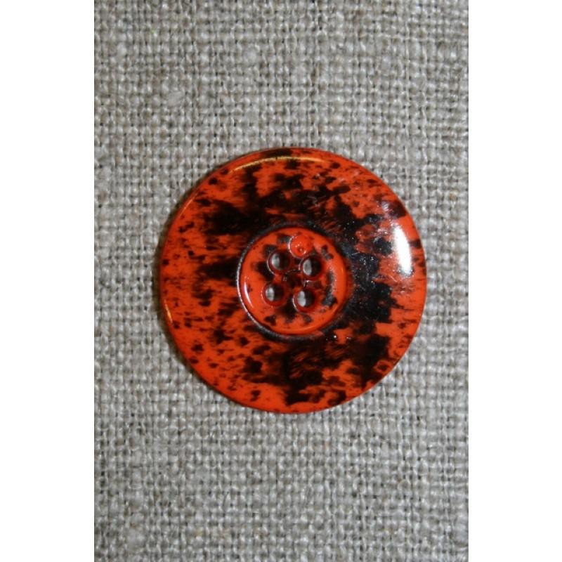 Knap m/pletter orange/sort 23 mm.-35