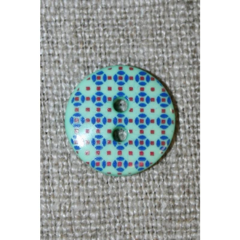 2-huls knap m/retro mønster mint/rød/blå 15 mm.-35