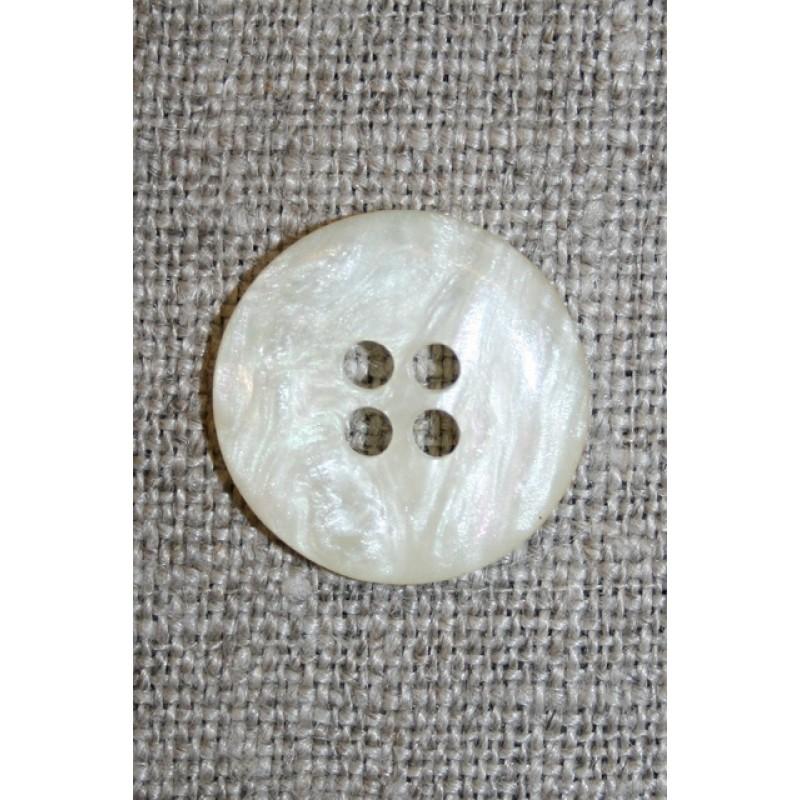 Off-white 4-huls knap i perlemors-look, 18 mm.-35