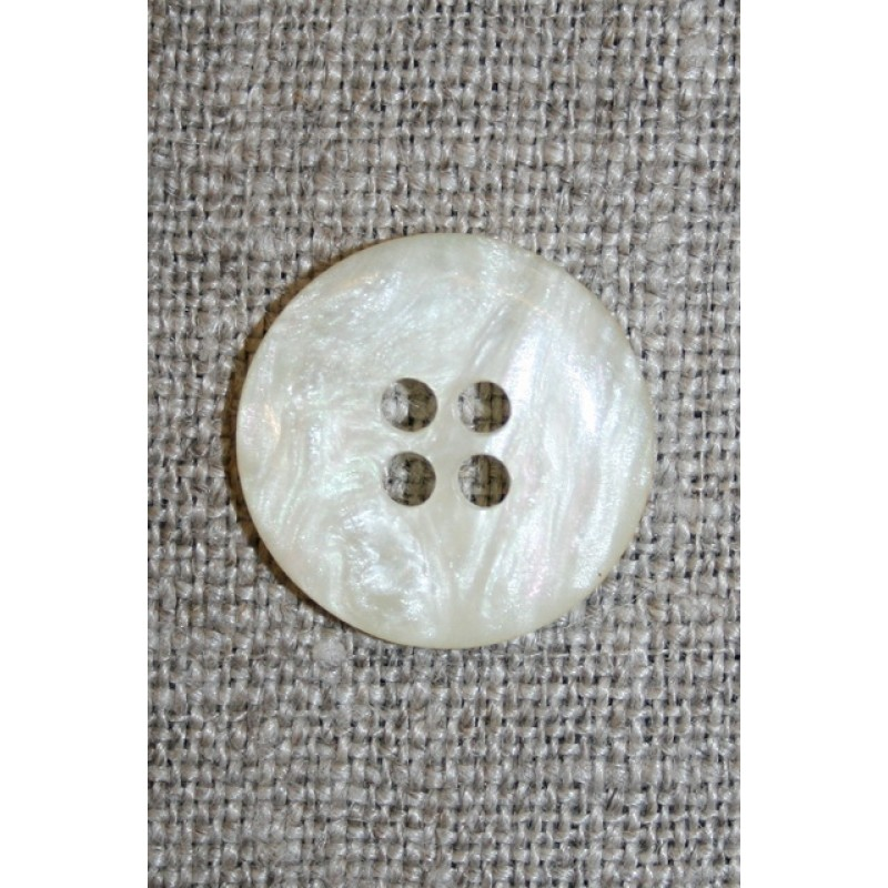 Off-white 4-huls knap i perlemors-look, 18 mm.