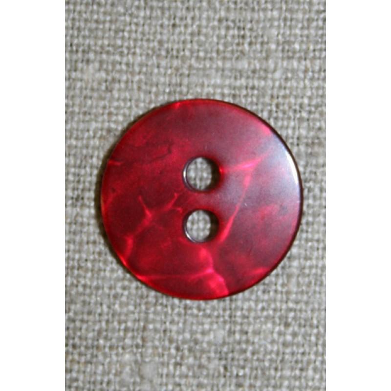 Rød blank, krakeleret knap, 20 mm.-35