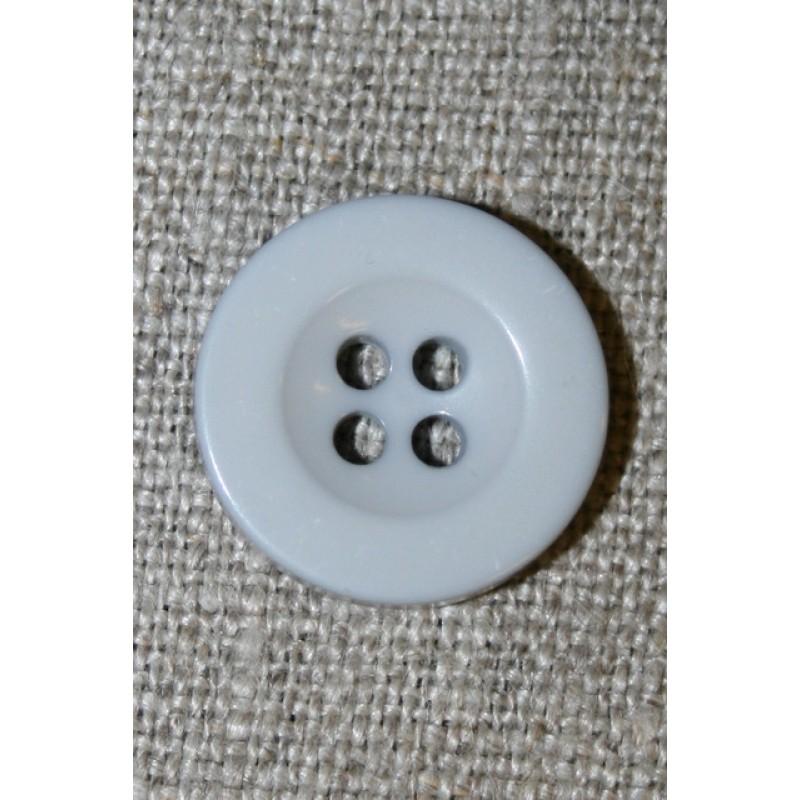Lys lysegrå 4-huls knap, 18 mm.