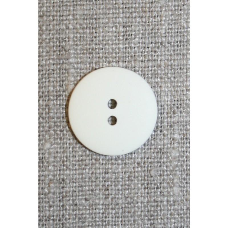 Knækket hvid 2-huls knap, 18 mm.