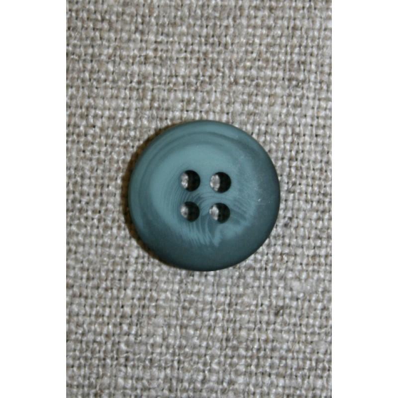 4-huls knap meleret petrol/lys petrol 15 mm.