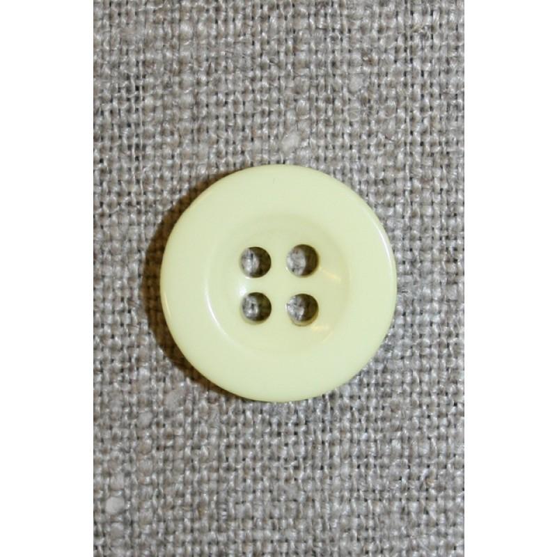 Lysegul 4-huls knap, 17 mm.