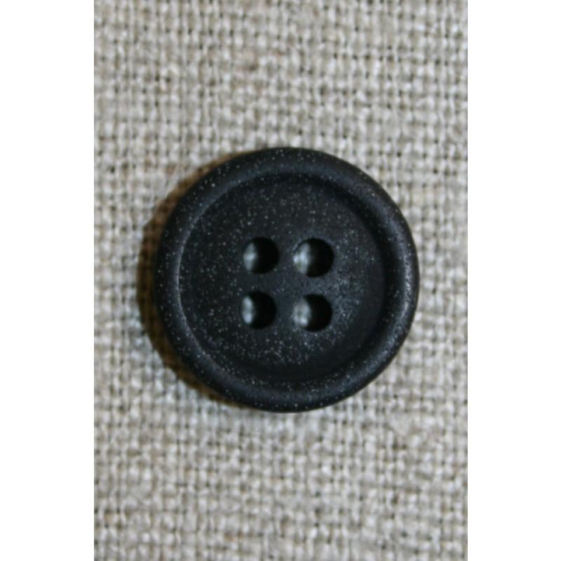 4-huls knap sort 15 mm.-35