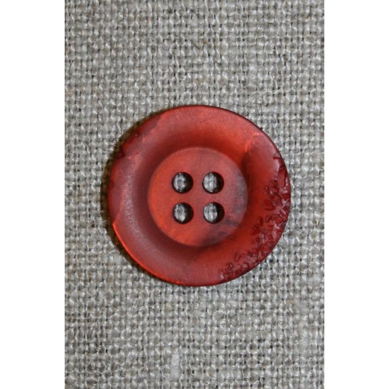 4-huls knap krakeleret rød-orange, 20 mm.-35