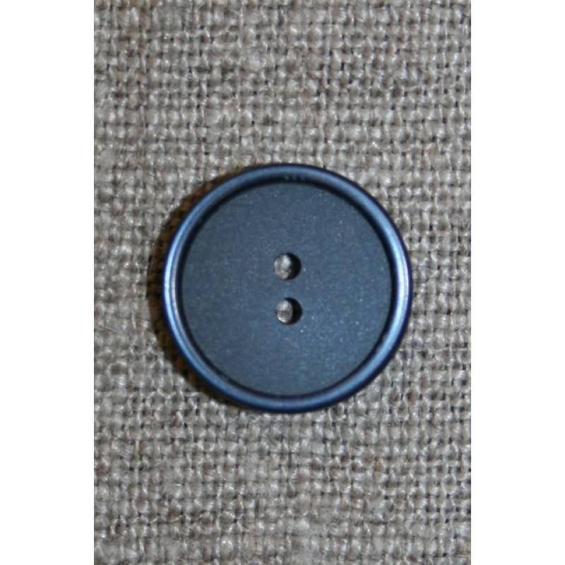 2-huls knap støvet blå 15 mm.
