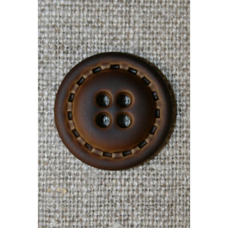4-huls knap i læder-look brun, 20 mm.-31