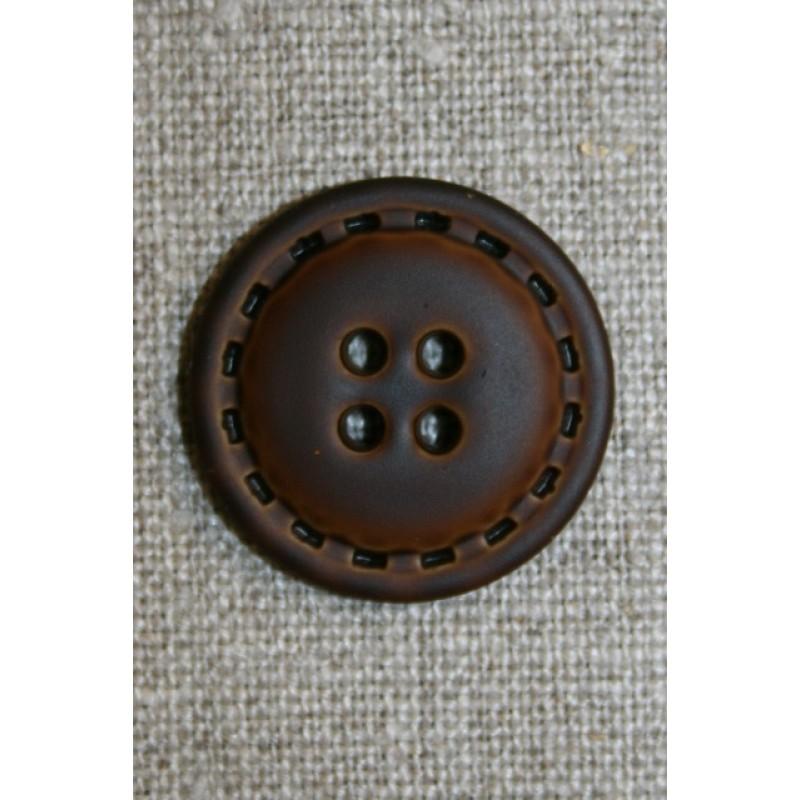 4-huls knap i læder-look brun, 25 mm.-33