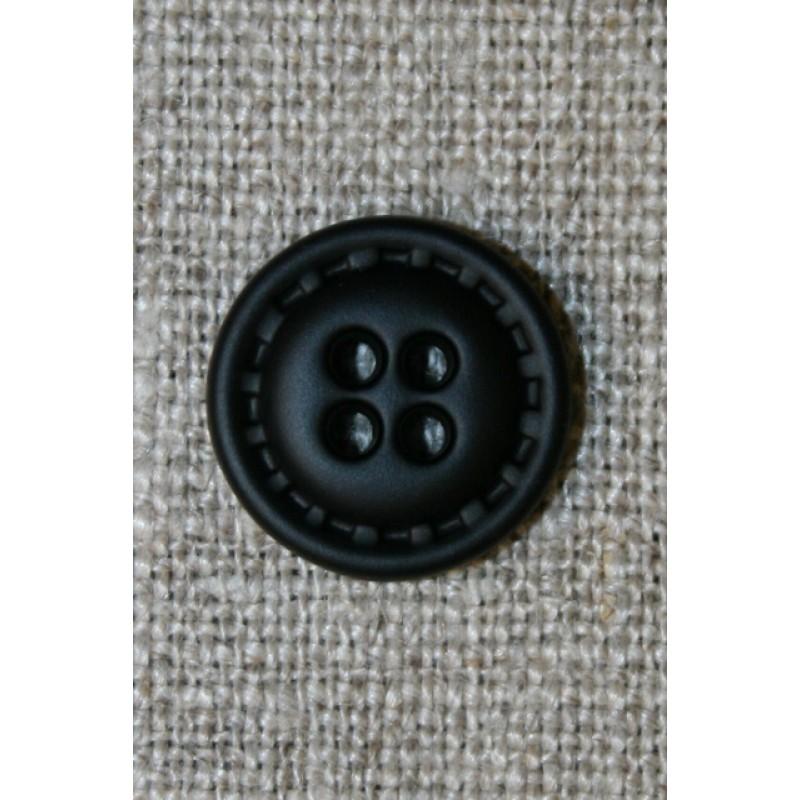 4-huls knap i læder-look sort, 15 mm.-33