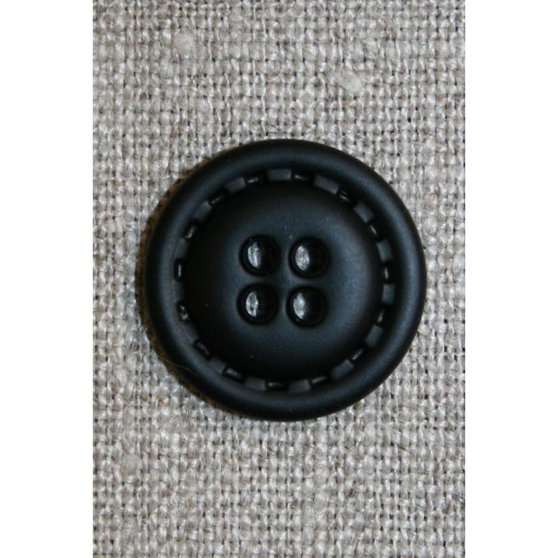 4-huls knap i læder-look sort, 20 mm.-33