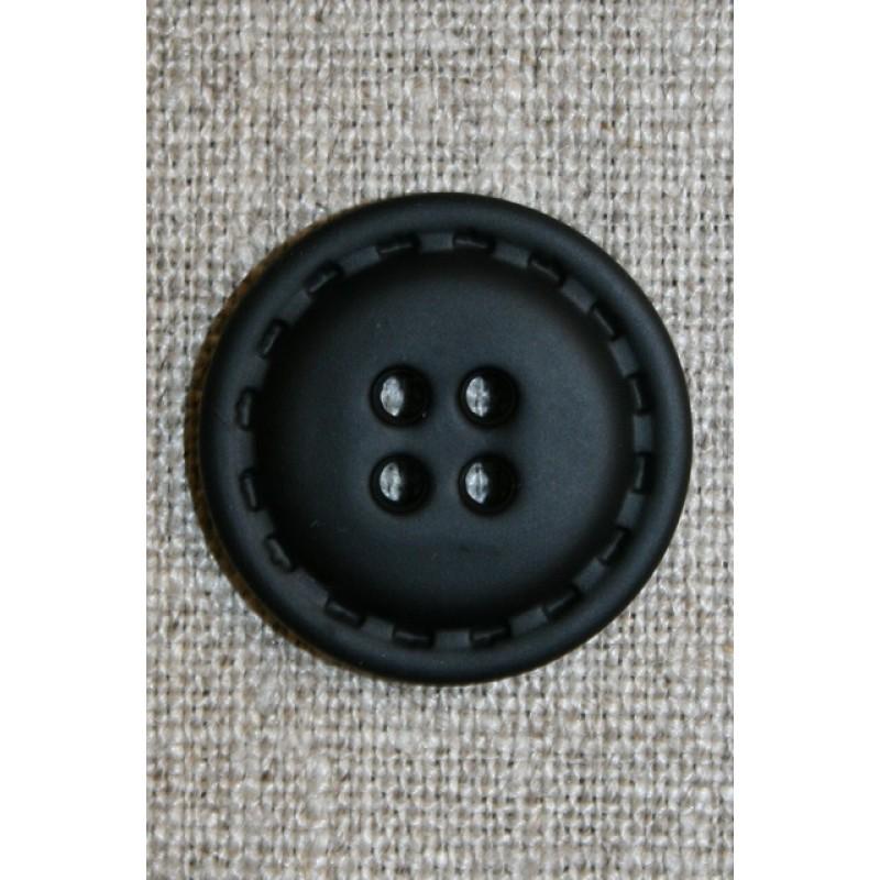 4-huls knap i læder-look sort, 25 mm.-33