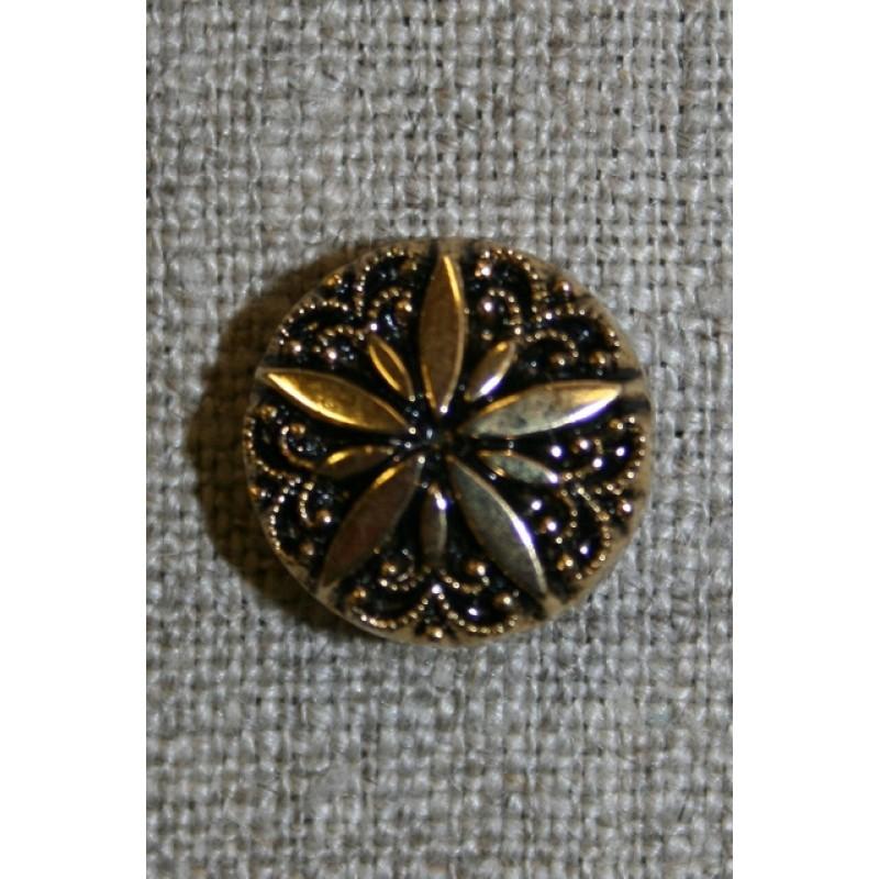 Knap Guld/sort m/blomst 15 mm.-31
