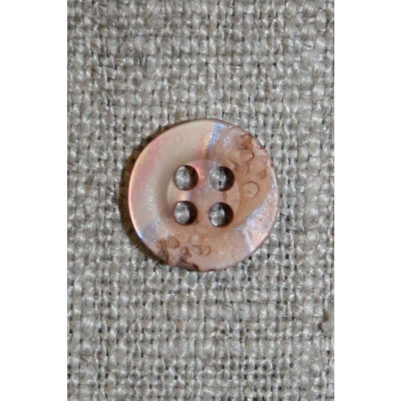 4-huls krakeleret knap beige/pudder 11 mm.-31
