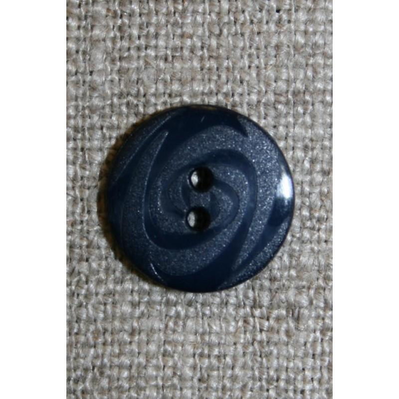 Mørkeblå 2-huls knap m/mønster, 14 mm.-35