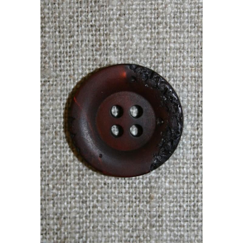 4-huls knap krakeleret mørkebrun, 20 mm.-31